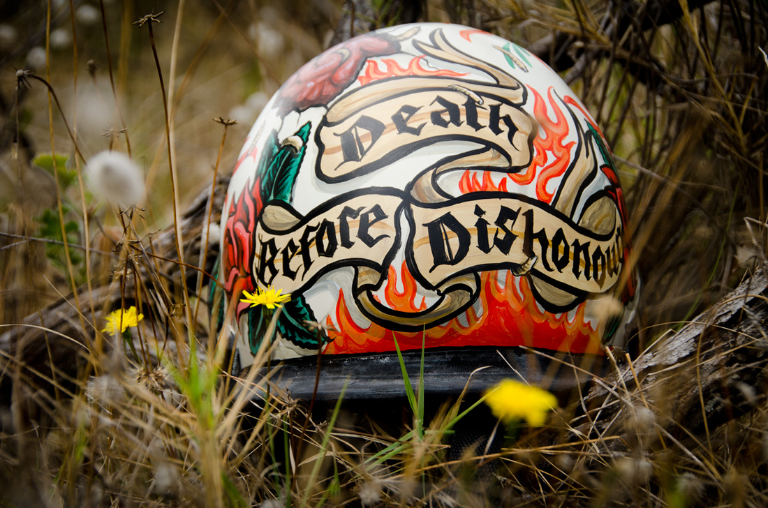 Tattoo Death Before Dishonour custom helmet