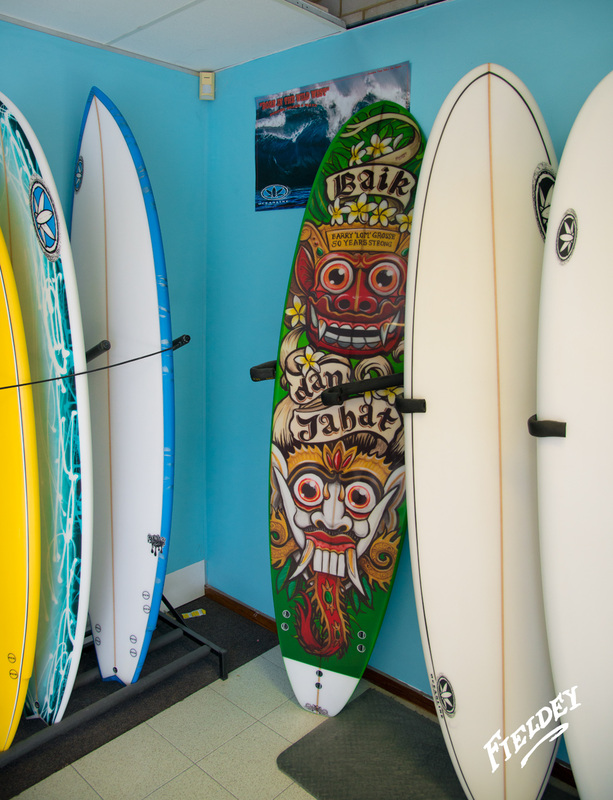 Custom-made mini-mal surfboard with art