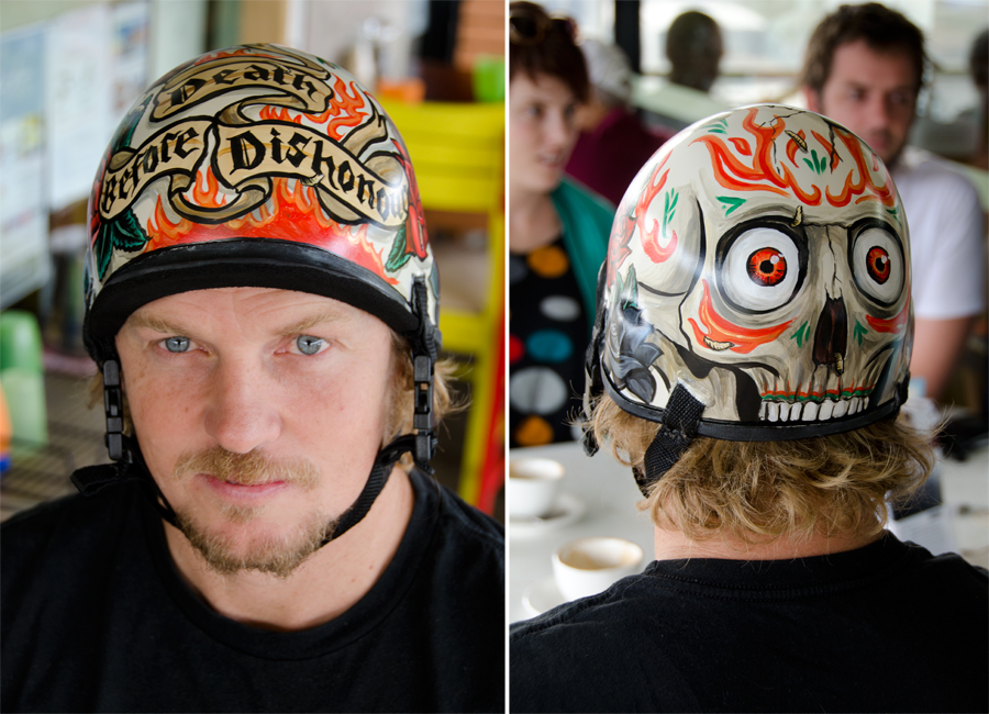 Russell Ord wearing the Death Before Dishonour custom painted helmet