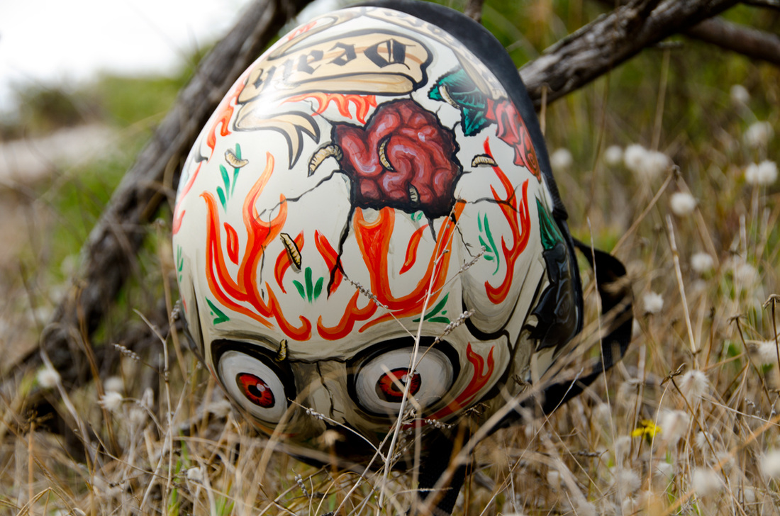 Tattoo skull helmet