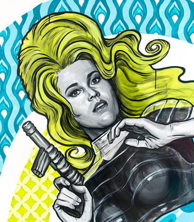 Jane Fonda as Barbarella, painted mural detail
