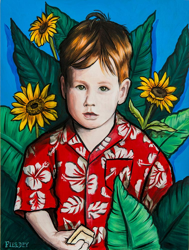 A commissioned acrylic portrait of a small boy with sunflowers