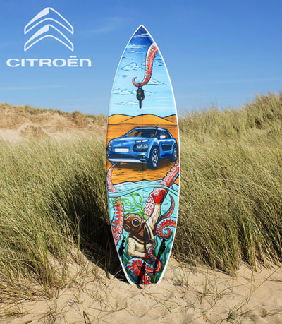 Custom surfboard graphics for Citroën's new surf-themed car