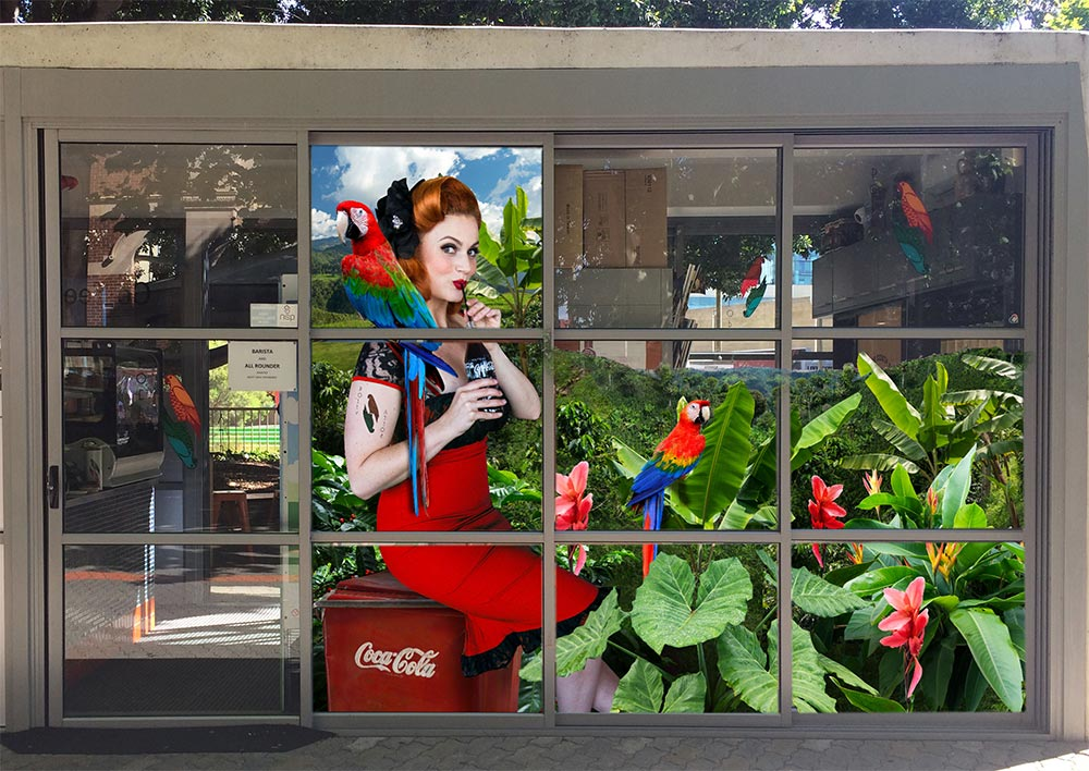 Bespoke window graphic artwork for Coca-Cola and Polly Cafe