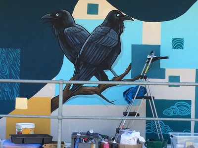 Black crows painting as part of the Fieldey collaboration with MSH and Stocklands Bullcreek