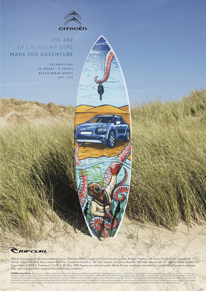 Fieldey surfboard artwork used in an advertisement for Citroen and Ripcurl