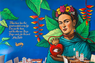 Frida Kahlo portrait street art mural for Santa Fe Restaurant, Perth
