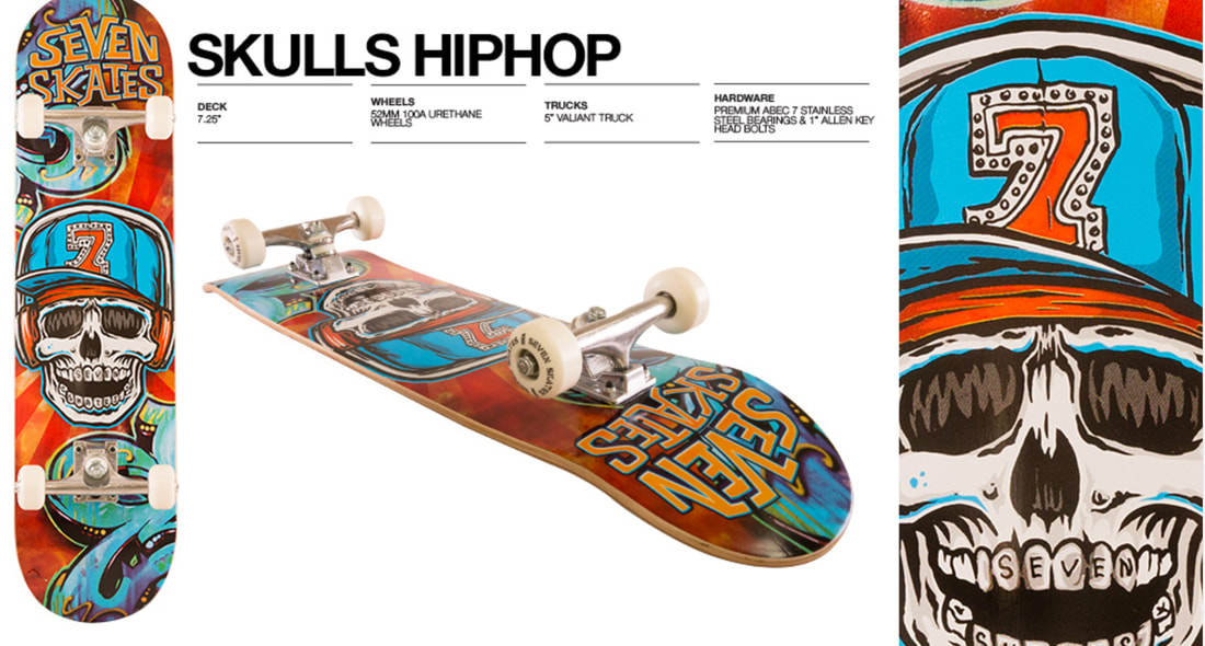 Hip hop skull skateboard deck graphic