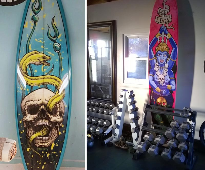 Custom surfboard art for home gym