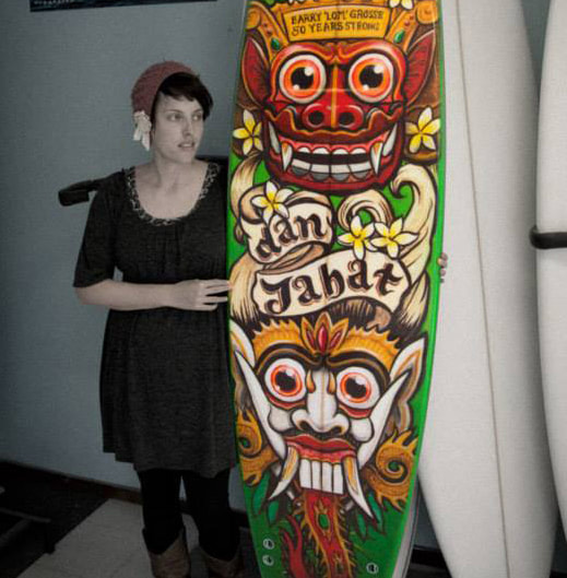 Fieldey Balinese custom surfboard graphic