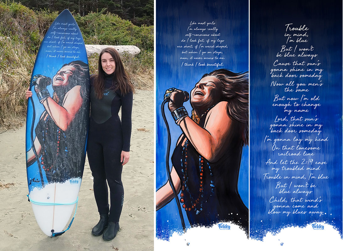Janis Joplin custom-painted inlay for a new surfboard