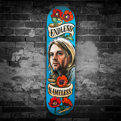 Kurt Cobain painted skateboard artwork