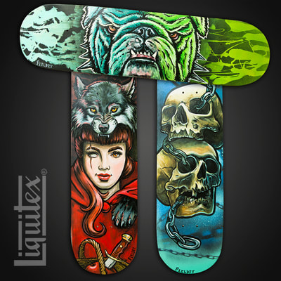 Painted skateboards for Liquitex Paints