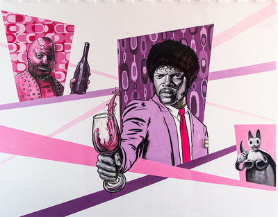 Samuel L Jackson as Jules Winnfield, a Pulp Fiction themed street art mural
