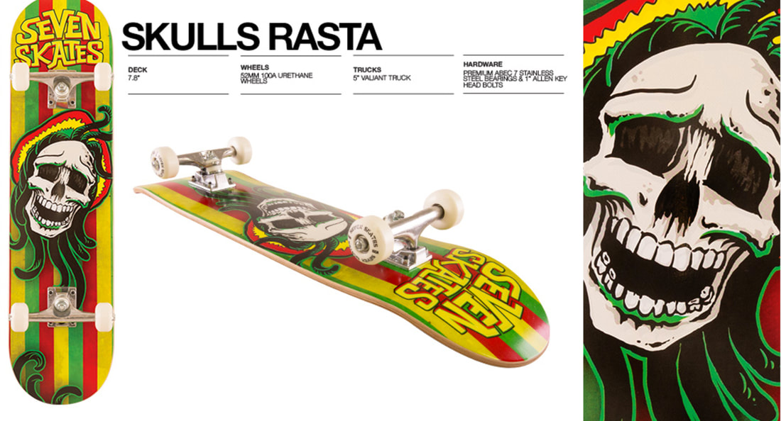 Rasta skull skateboard deck graphic