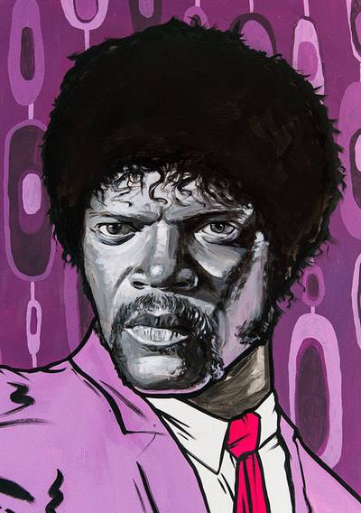 Samuel L Jackson mural portrait as Jules in Pulp Fiction