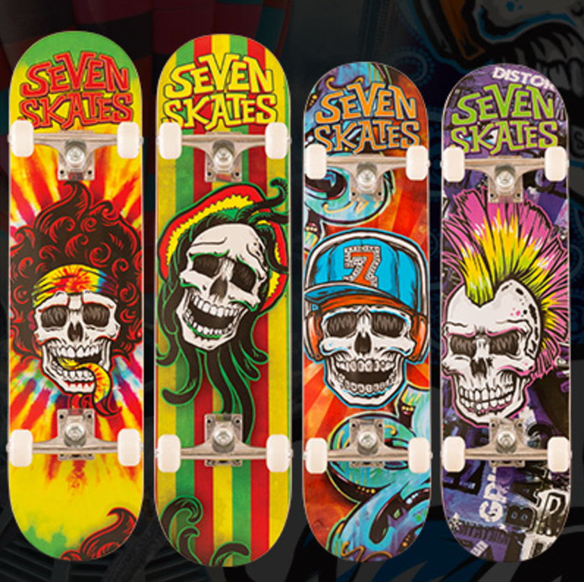 Skull range of skateboard deck graphics for Seven Skates