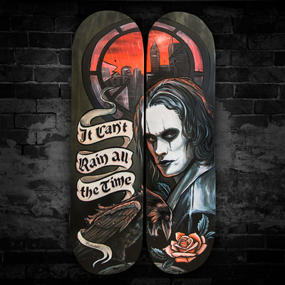 Brandon Lee The Crow themed skateboard painting
