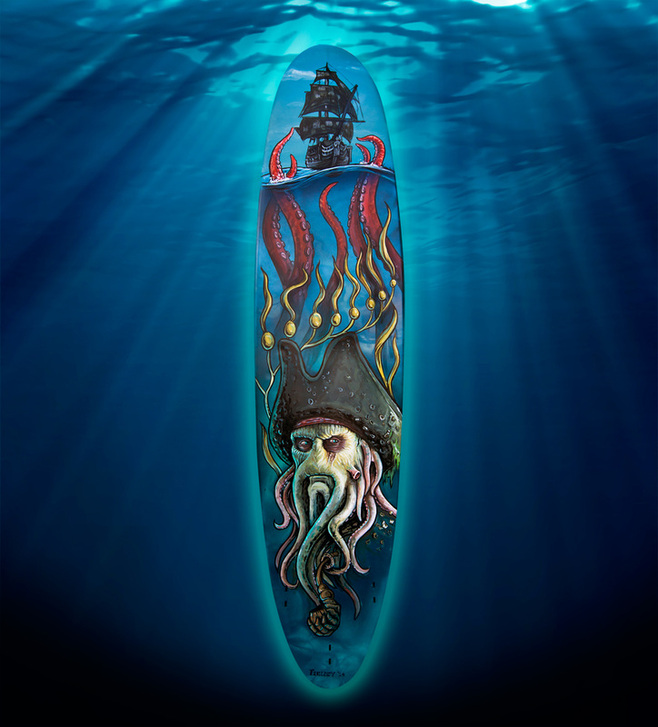 Davy Jones surfboard painting commission