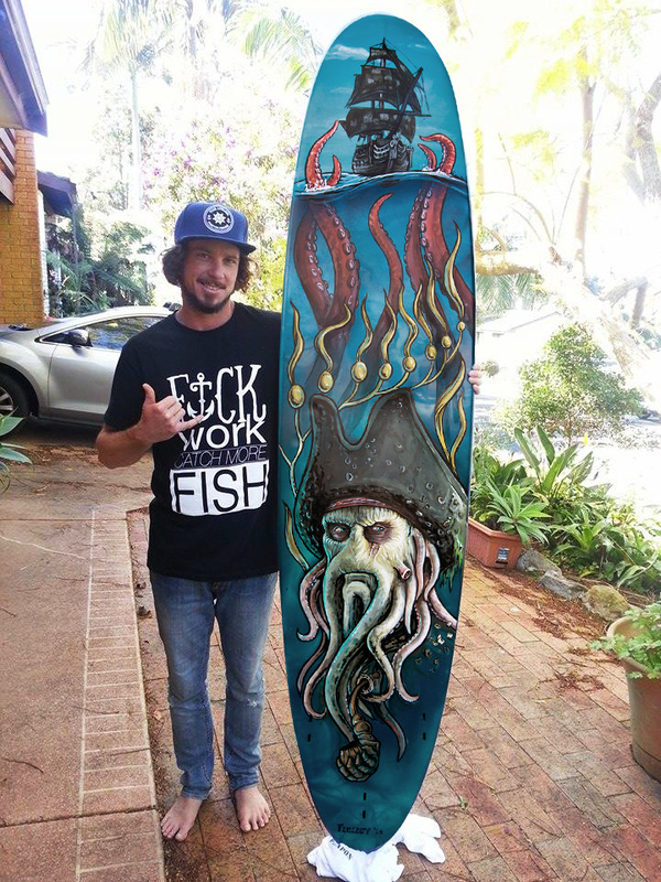 Davy Jones themed surfboard commission