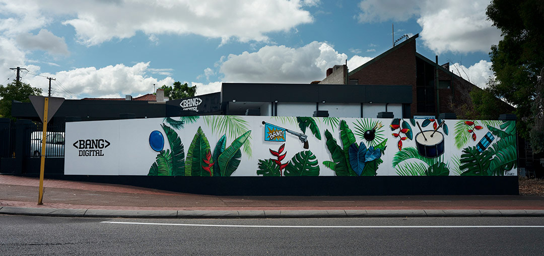 Outside botanical themed street art mural for Bang Digital