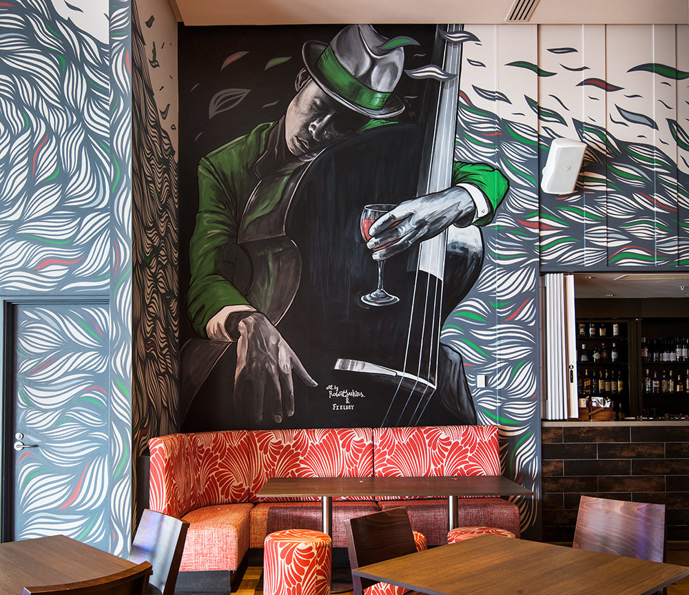 Four Points custom mural by Fieldey and Rob Jenkins